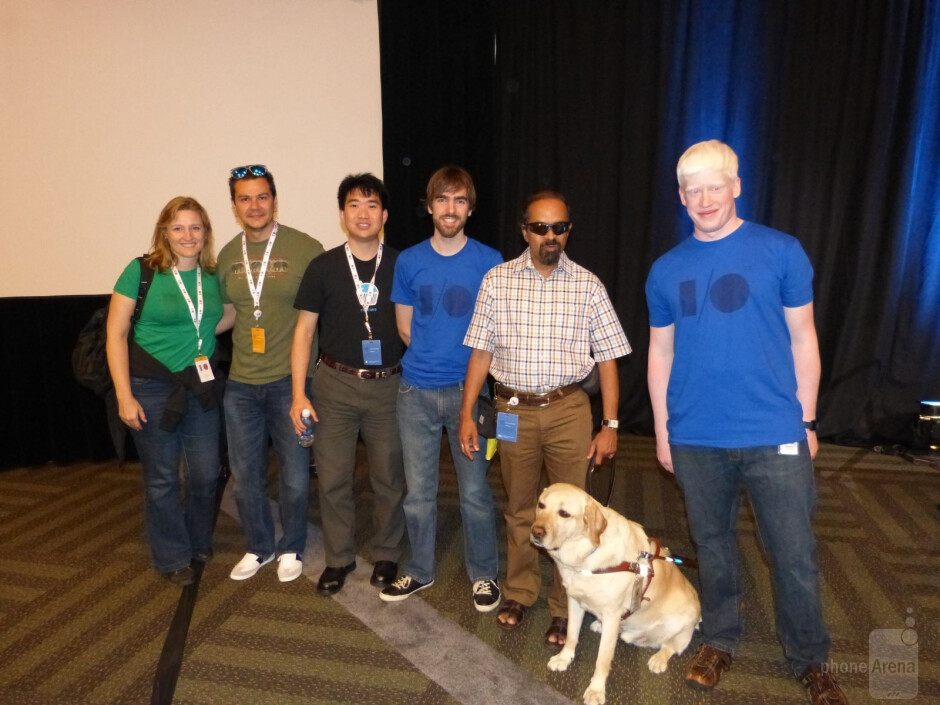 This is part of the team at Google that has built the tools for developers to enable accessibility for the vision impaired, T.V. Ramam is with Tilden, the seeing eye dog. - Android talks and does Braille