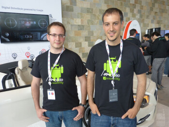 Xavi Martinez Clemente (L) and Jose Luis Ametller (R) develop apps that assist the vision impaired for Codefactory, based in Spain.