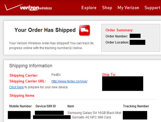 This screenshot of an email shows that Verizon has started shipping the Samsung Galaxy S4 - Verizon ships some Samsung Galaxy S4 units earlier than expected