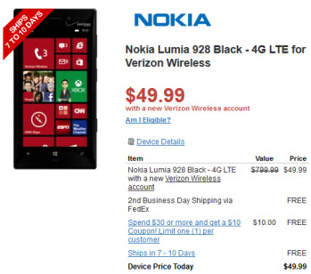 The Black Nokia Lumia 928 ships in 7 to 10 days from Radio Shack
