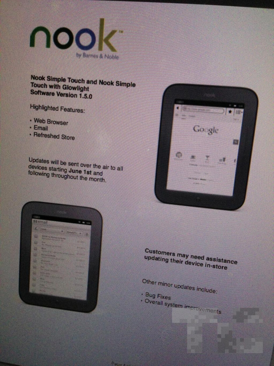 This leaked memo says that an OTA update will add an email client and a web browser to the Barnes and Noble Simple Touch - June 1st update to add email and browser to Nook Simple Touch eReaders?