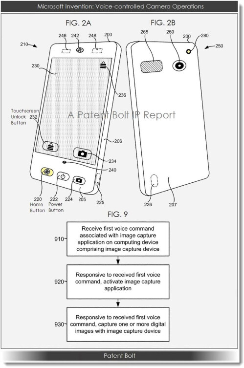 Microsoft patent application for voice control on a mobile phone camera