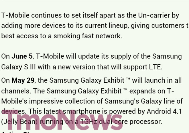 This leaked internal T-Mobile message gives us a launch date for two Samsung Galaxy models - T-Mobile to launch Samsung Galaxy Exhibit May 29th, Samsung Galaxy S III LTE on June 5th?