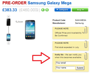 Pre-register for the Samsung Galaxy Mega 6.3 at Clove