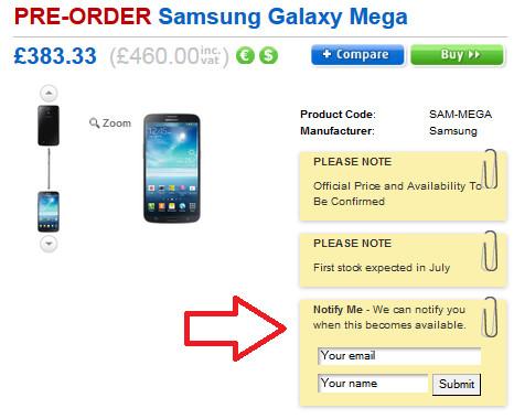 Pre-register for the Samsung Galaxy Mega 6.3 at Clove - U.K. retailer Clove accepting pre-registrations for the Samsung Galaxy Mega 6.3; July launch seen