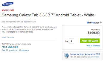 Adorama has taken down this listing for the Samsung Galaxy Tab 3 7.0