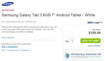 Adorama has taken down this listing for the Samsung Galaxy Tab 3 7.0