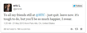 "HTC's product chief departs, ex-strategy head Eric Lin tweets ""leave now"""