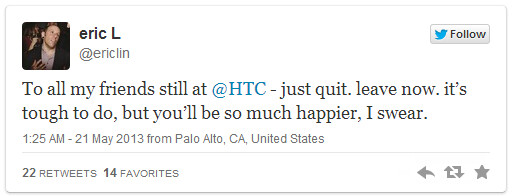 """HTC's product chief departs, ex-strategy head Eric Lin tweets """"leave now"""""""