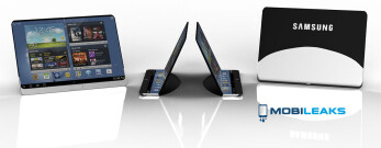 Flexible Samsung tablet concept out with specs, bottom part folds to a stand a
