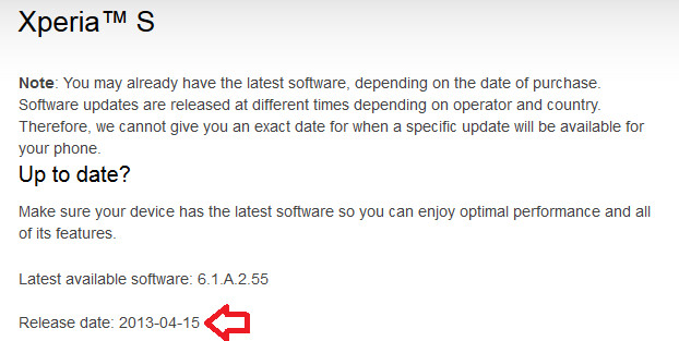 Sony's support page has reverted back to Android 4.0 for the Sony Xperia S - Sony Xperia S starts getting updated to Android 4.1.2