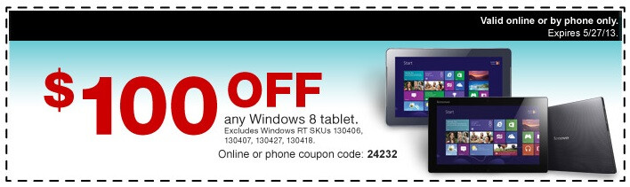 Staples knocks $100 off any Windows 8 tablet this weekend