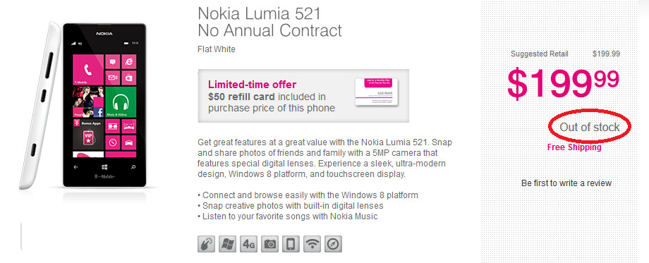 The Nokia Lumia 521 is sold out on T-Mobile's pre-paid network - T-Mobile pre-paid sells out the Nokia Lumia 521