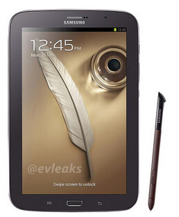 Brown Samsung Galaxy Note 8.0 (L) and white Samsung Galaxy S4 mini - Leaked: white Samsung Galaxy S4 mini and brown Samsung Galaxy Note 8.0