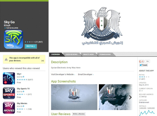 The Syrian Electronic Army has hacked Sky Tv's apps - Sky TV apps hacked, removed from Google Play Store