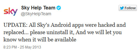 Sky TV's tweet warns users about the hacking - Sky TV apps hacked, removed from Google Play Store