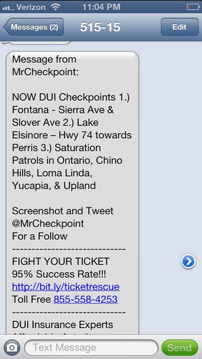Typical text message from Mr. Checkpoint, note the ads on bottom - Is checkpoint snitch a hero or bad guy?