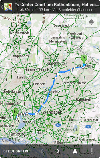 Navigation for cyclists on Google Maps