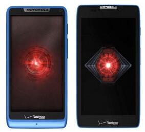 Motorola DROID RAZR M (L) and Motorola DROID RAZR HD in blue