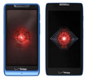 Motorola DROID RAZR M (L) and Motorola DROID RAZR HD in blue