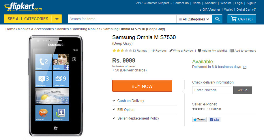The Samsung Omnia M is on sale in India via Flipkart - Blast from the past: Samsung Omnia M for sale in India once again