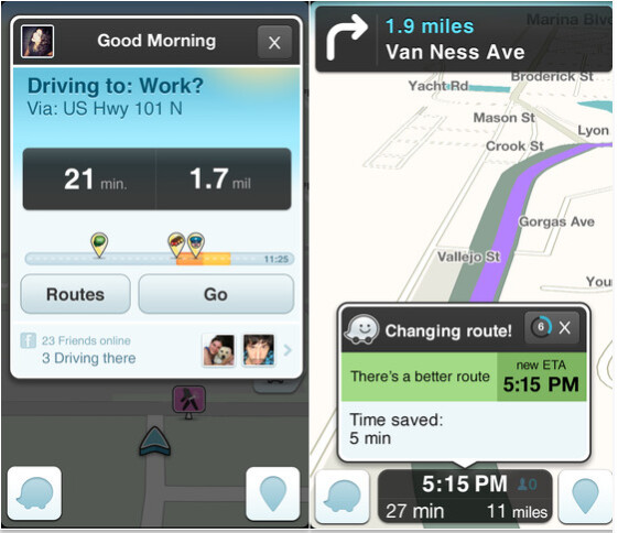 Screenshots from the iOS version of Waze - Waze update to iOS app adds Facebook integration for events