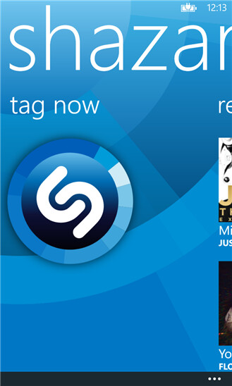 Screenshots from Shazam for Windows Phone 8