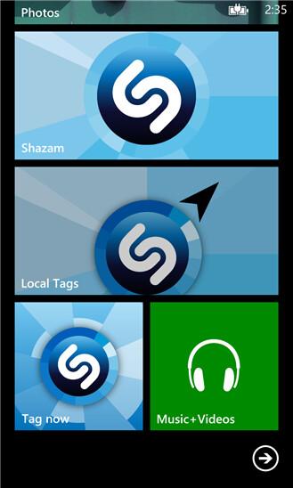 Screenshots from Shazam for Windows Phone 8