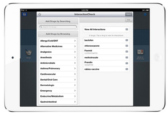 A mock up of how the Epocrates app would look on an Apple iPad mini - Doctors in new survey choose the Apple iPhone and the Apple iPad to save and access patient files