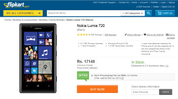 The Nokia Lumia 720 has had a 10% price cut in India