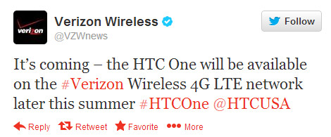 The HTC One is coming to Verizon - It's official! HTC One is coming to Verizon