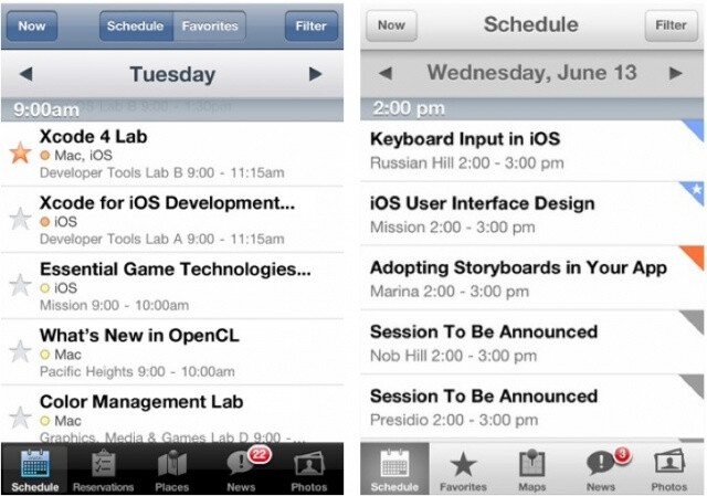WWDC 2012 app on the left vs WWDC 2013 app on the right - New official Apple WWDC app could show where the iOS design wind is blowing