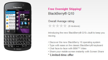 The BlackBerry Q10 is now available from T-Mobile