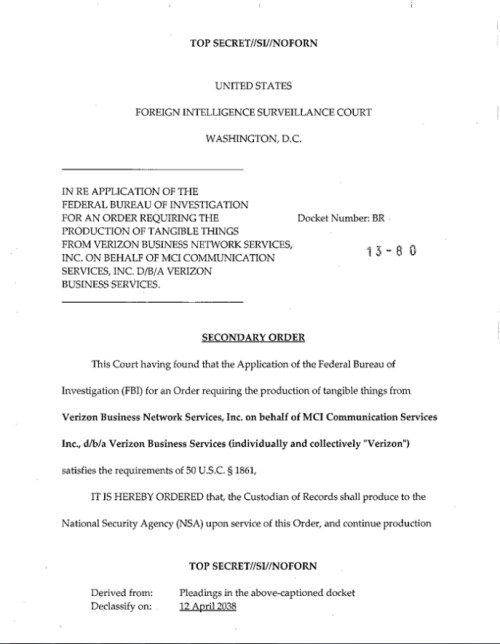 NSA secret court order to Verizon leaks