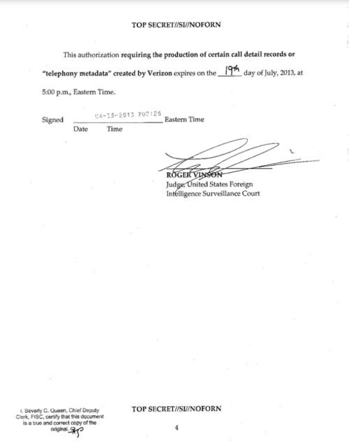 NSA secret court order to Verizon leaks