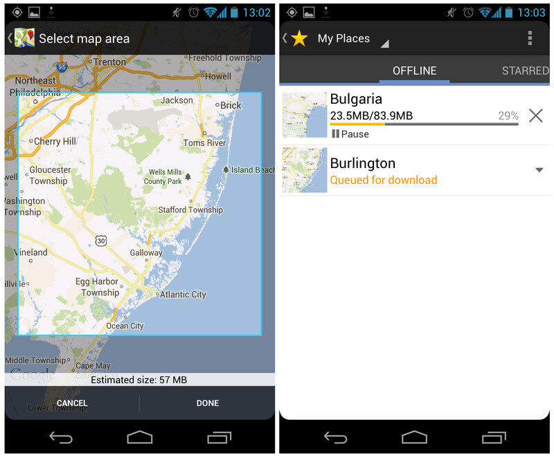 Make parts of Google Maps available offline