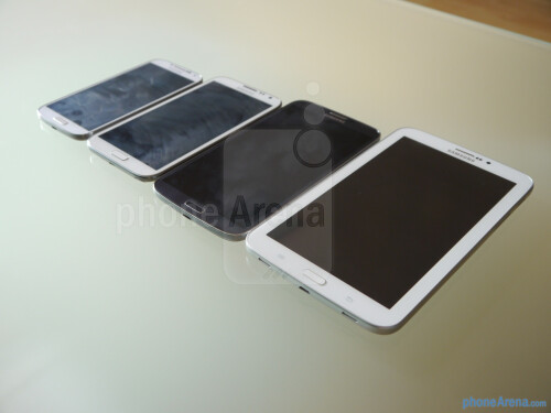 From left to right: GS4, Note II, Mega 6.3, Tab 3 7-inch