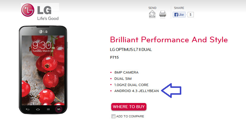 LG's product page shows Android 4.3 powering the LG Optimus L7 II Dual - LG shows Android 4.3 running the LG Optimus L7 II Dual