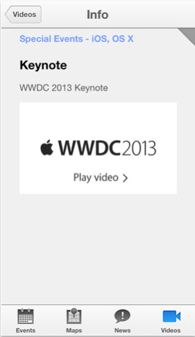 Screenshots from the WWDC app - Apple's WWDC app now updated, adds video support