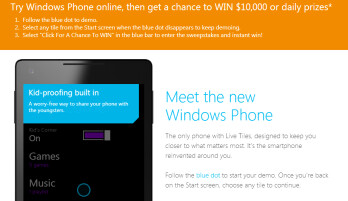 Demo Windows Phone online and you might win $10,000