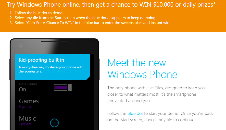 Demo Windows Phone online and you might win $10,000 - Win $10,000 by demoing Windows Phone online