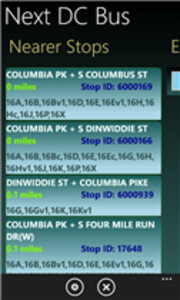 Screenshots from Next DC Bus - Windows Phone app Next DC Bus tracks bus arrivals in real time in DC, Virginia and Maryland