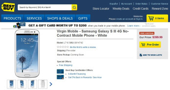 Best Buy has Samsung Galaxy S III for Virgin Mobile available for pre-order, $399