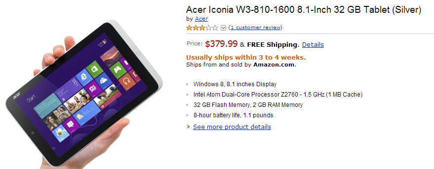 The Acer Iconia W3 can be pre-ordered from Amazon (pictured) and Staples - Acer Iconia W3 tablet available for pre-orders from Staples and Amazon