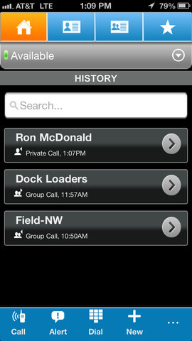 Screenshots from AT&T's enhanced PTT for the Apple iPhone
