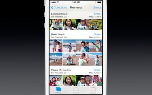 iOS 7 comes with new Camera and Photos app