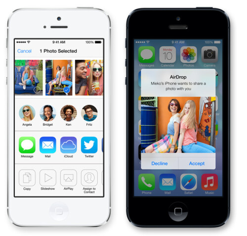 AirDrop: contact-less sharing nearby via Wi-Fi and Bluetooth
