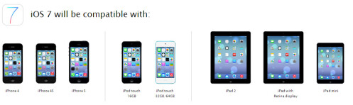 The iOS 7 will arrive on iPhone 4 and later, iPad 2 and later, iPad mini and iPod touch 5th generation