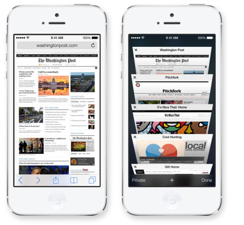 Overhauled mobile Safari: full screen, smart address bar, swipe tabs