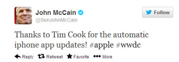 Senator McCain tweets his thanks to Tim Cook